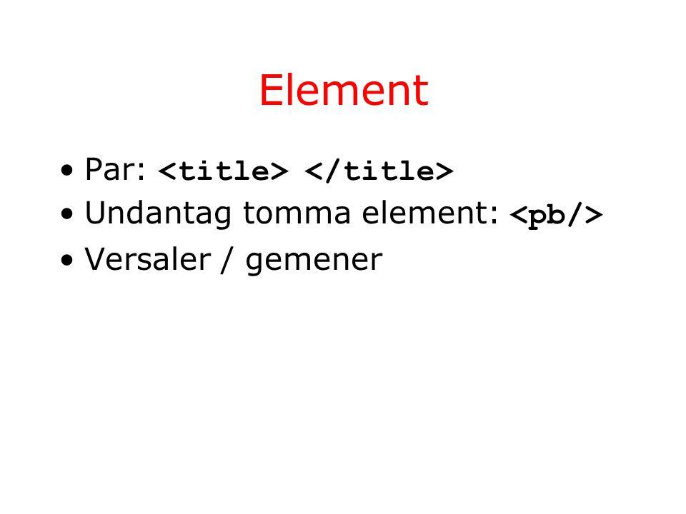 Element Par: Undantag tomma element: Versaler / gemener