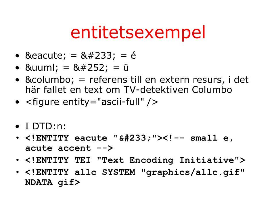 entitetsexempel é = é = é ü = ü = ü &columbo; = referens till en extern resurs, i det här fallet en text om TV-detektiven Columbo I DTD:n: