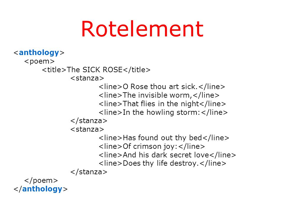 Rotelement The SICK ROSE O Rose thou art sick.
