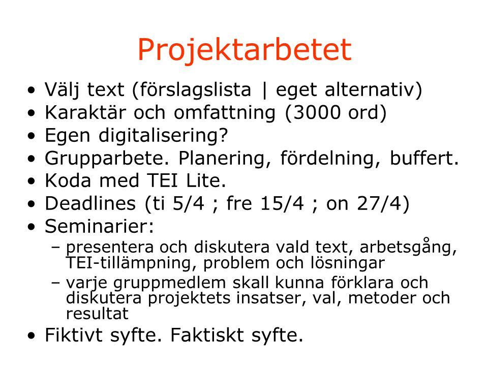 Projektarbetet Välj text (förslagslista | eget alternativ) Karaktär och omfattning (3000 ord) Egen digitalisering.