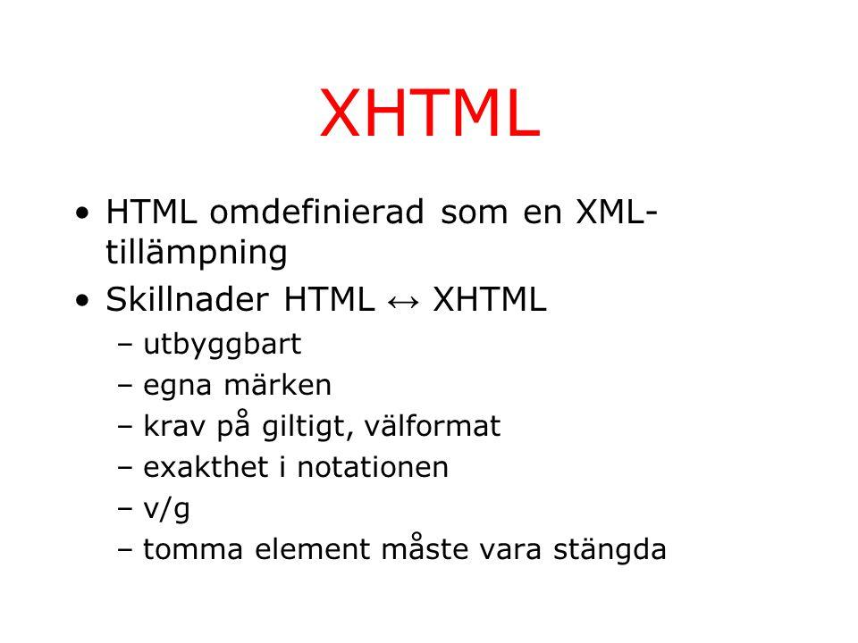 XHTML HTML omdefinierad som en XML- tillämpning Skillnader HTML ↔ XHTML –utbyggbart –egna märken –krav på giltigt, välformat –exakthet i notationen –v/g –tomma element måste vara stängda