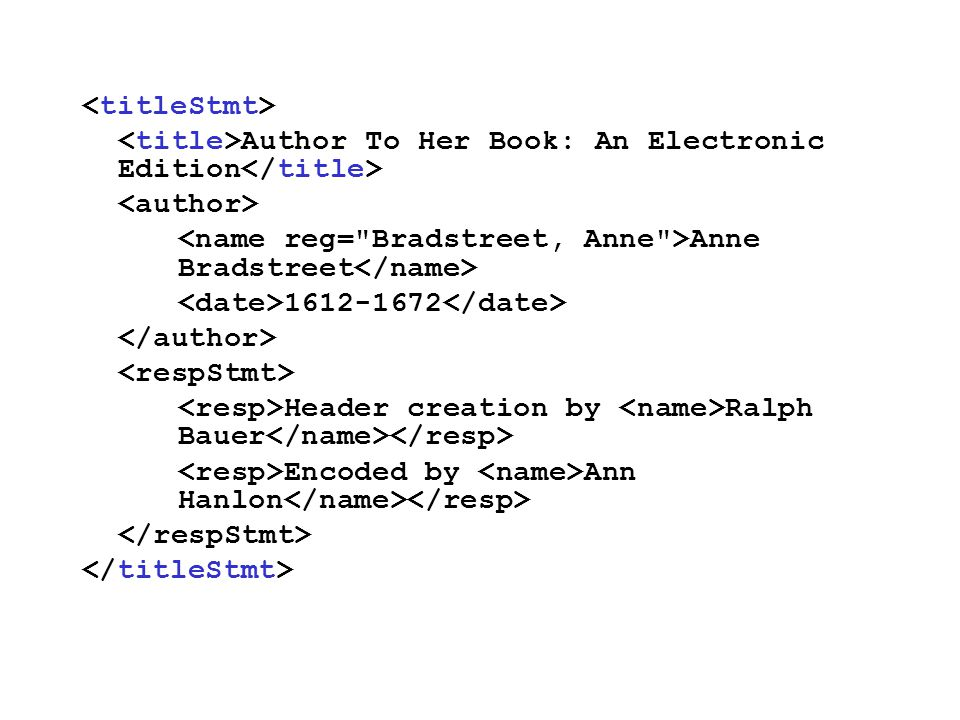 Author To Her Book: An Electronic Edition Anne Bradstreet 1612-1672 Header creation by Ralph Bauer Encoded by Ann Hanlon