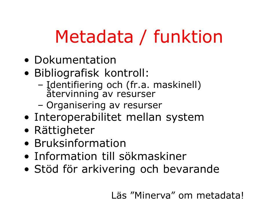Metadata / digitala objekt Synliga / dolda metadata Inbäddade / externa Tryckta standarder: behov av metadaformat anpassade till digitala objekt Flera försök att göra beskrivningen standardiserad, enhetlig, maskinläsbar (Dublin Core, PICS, TEI Header, RDF) Dåligt stöd för metadata i SGML och HTML