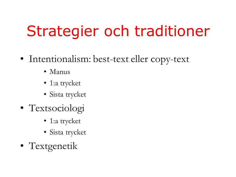 Strategier och traditioner Intentionalism: best-text eller copy-text Manus 1:a trycket Sista trycket Textsociologi 1:a trycket Sista trycket Textgenetik