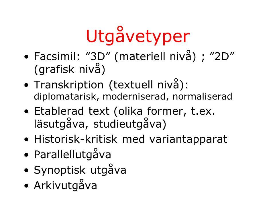 Utgåvetyper Facsimil: 3D (materiell nivå) ; 2D (grafisk nivå) Transkription (textuell nivå): diplomatarisk, moderniserad, normaliserad Etablerad text (olika former, t.ex.
