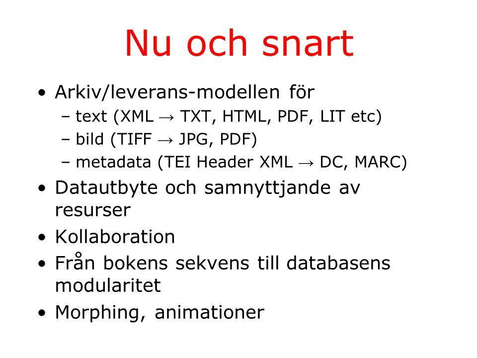 Nu och snart Arkiv/leverans-modellen för –text (XML → TXT, HTML, PDF, LIT etc) –bild (TIFF → JPG, PDF) –metadata (TEI Header XML → DC, MARC) Datautbyte och samnyttjande av resurser Kollaboration Från bokens sekvens till databasens modularitet Morphing, animationer