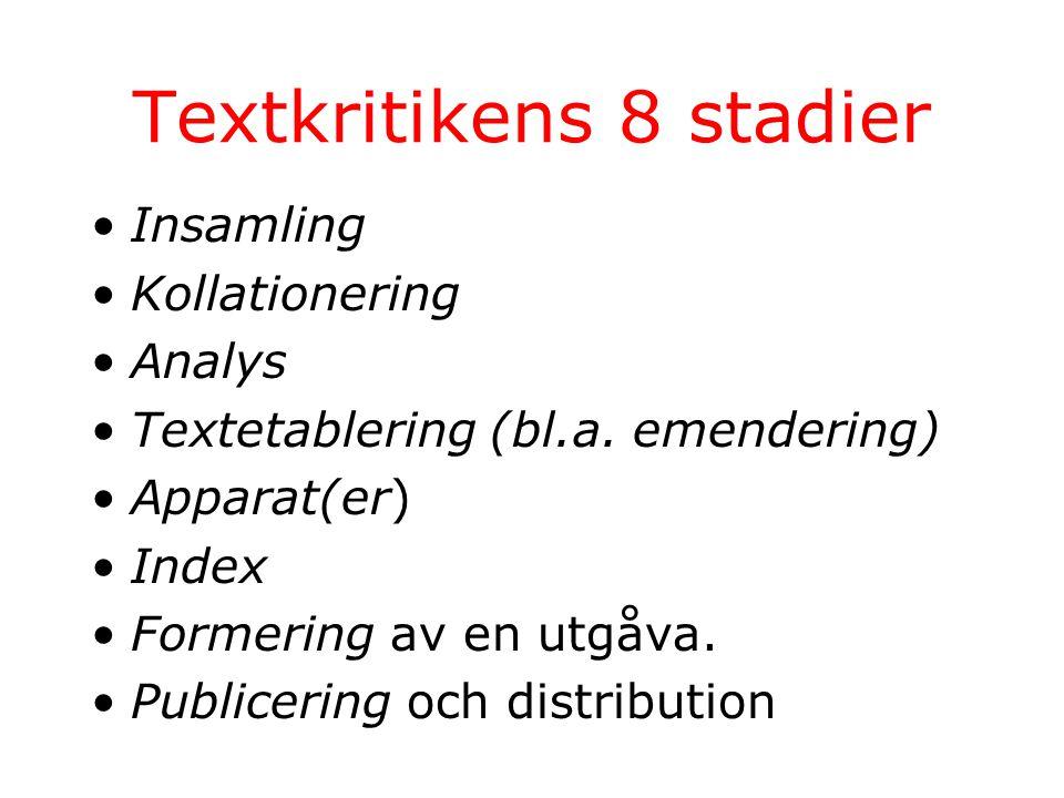Textkritikens 8 stadier Insamling Kollationering Analys Textetablering (bl.a.