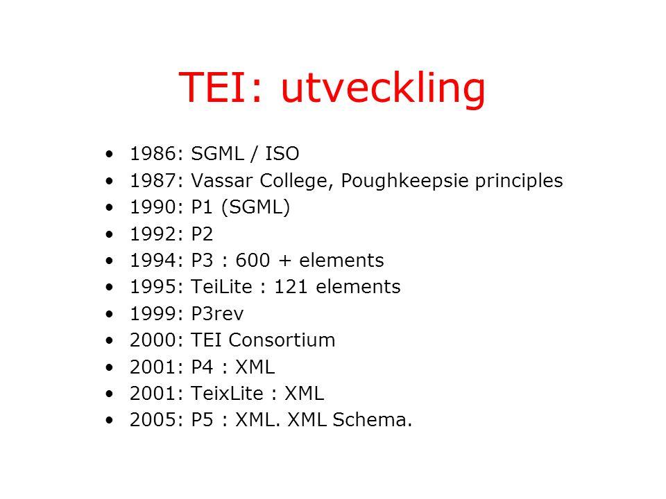 TEI: utveckling 1986: SGML / ISO 1987: Vassar College, Poughkeepsie principles 1990: P1 (SGML) 1992: P2 1994: P3 : 600 + elements 1995: TeiLite : 121 elements 1999: P3rev 2000: TEI Consortium 2001: P4 : XML 2001: TeixLite : XML 2005: P5 : XML.