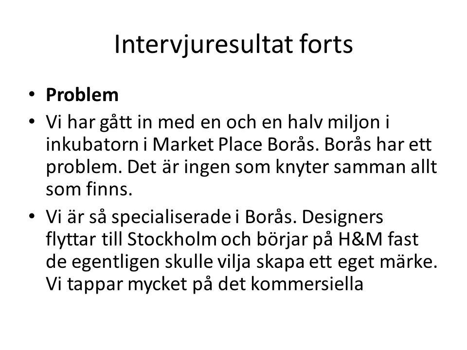 Intervjuresultat forts Problem Vi har gått in med en och en halv miljon i inkubatorn i Market Place Borås.