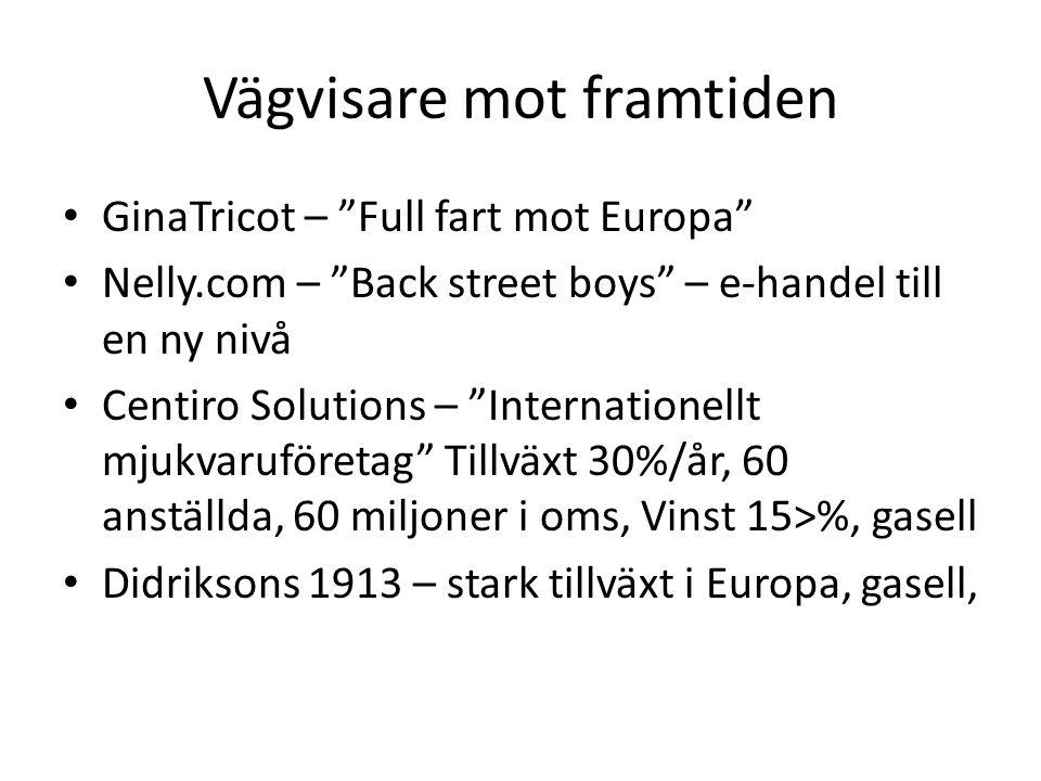 Vägvisare mot framtiden GinaTricot – Full fart mot Europa Nelly.com – Back street boys – e-handel till en ny nivå Centiro Solutions – Internationellt mjukvaruföretag Tillväxt 30%/år, 60 anställda, 60 miljoner i oms, Vinst 15>%, gasell Didriksons 1913 – stark tillväxt i Europa, gasell,