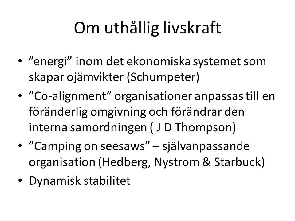 Om uthållig livskraft energi inom det ekonomiska systemet som skapar ojämvikter (Schumpeter) Co-alignment organisationer anpassas till en föränderlig omgivning och förändrar den interna samordningen ( J D Thompson) Camping on seesaws – självanpassande organisation (Hedberg, Nystrom & Starbuck) Dynamisk stabilitet