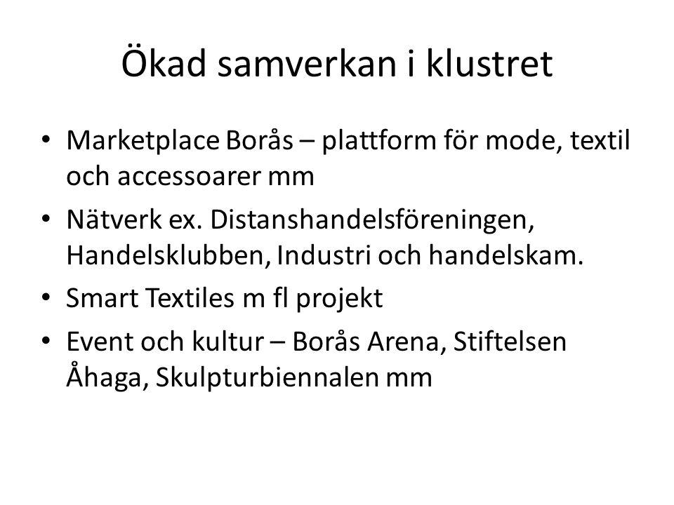 Ökad samverkan i klustret Marketplace Borås – plattform för mode, textil och accessoarer mm Nätverk ex.