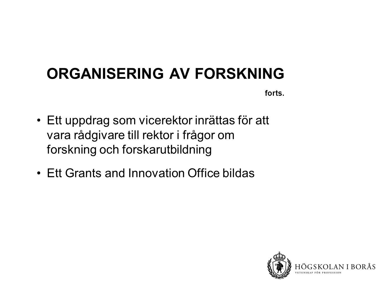 ORGANISERING AV FORSKNING forts.
