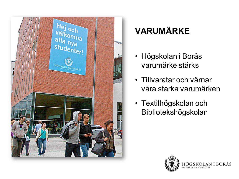 VARUMÄRKE Högskolan i Borås varumärke stärks Tillvaratar och värnar våra starka varumärken Textilhögskolan och Bibliotekshögskolan