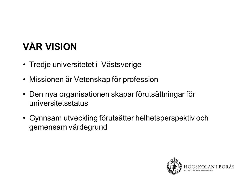 VÅR VISION Tredje universitetet i Västsverige Missionen är Vetenskap för profession Den nya organisationen skapar förutsättningar för universitetsstatus Gynnsam utveckling förutsätter helhetsperspektiv och gemensam värdegrund