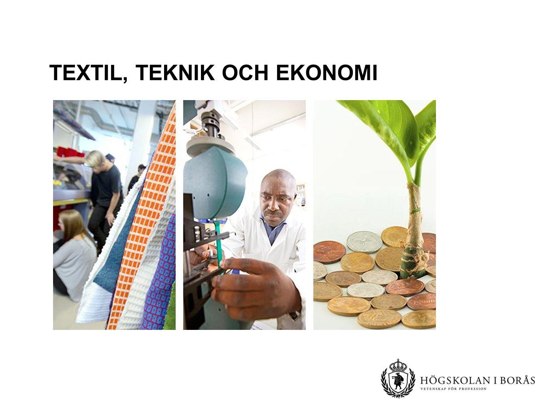 Textilhögskolan och andra avdelningar som indelas utifrån utbildningsfält Forskarutbildningar Resursåtervinning Textil materialteknik Textilt management Textil design, modedesign och interaktionsdesign Centrumbildningar