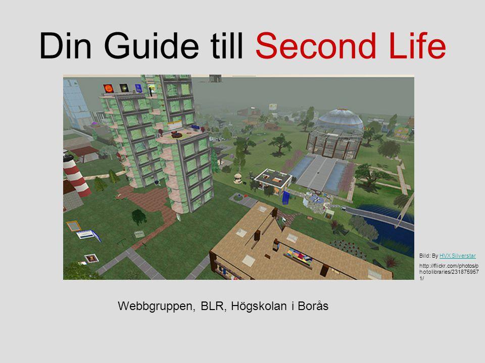 Din Guide till Second Life Bild: By HVX SilverstarHVX Silverstar http://flickr.com/photos/p hotolibraries/231875957 1/ Webbgruppen, BLR, Högskolan i Borås