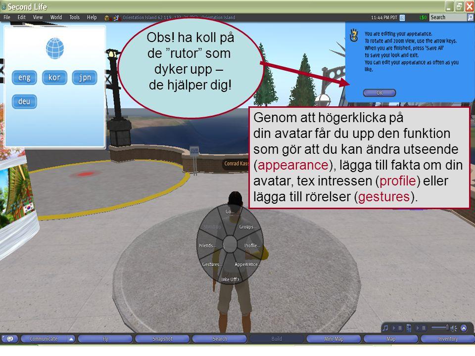 Genom att högerklicka på din avatar får du upp den funktion som gör att du kan ändra utseende (appearance), lägga till fakta om din avatar, tex intressen (profile) eller lägga till rörelser (gestures).