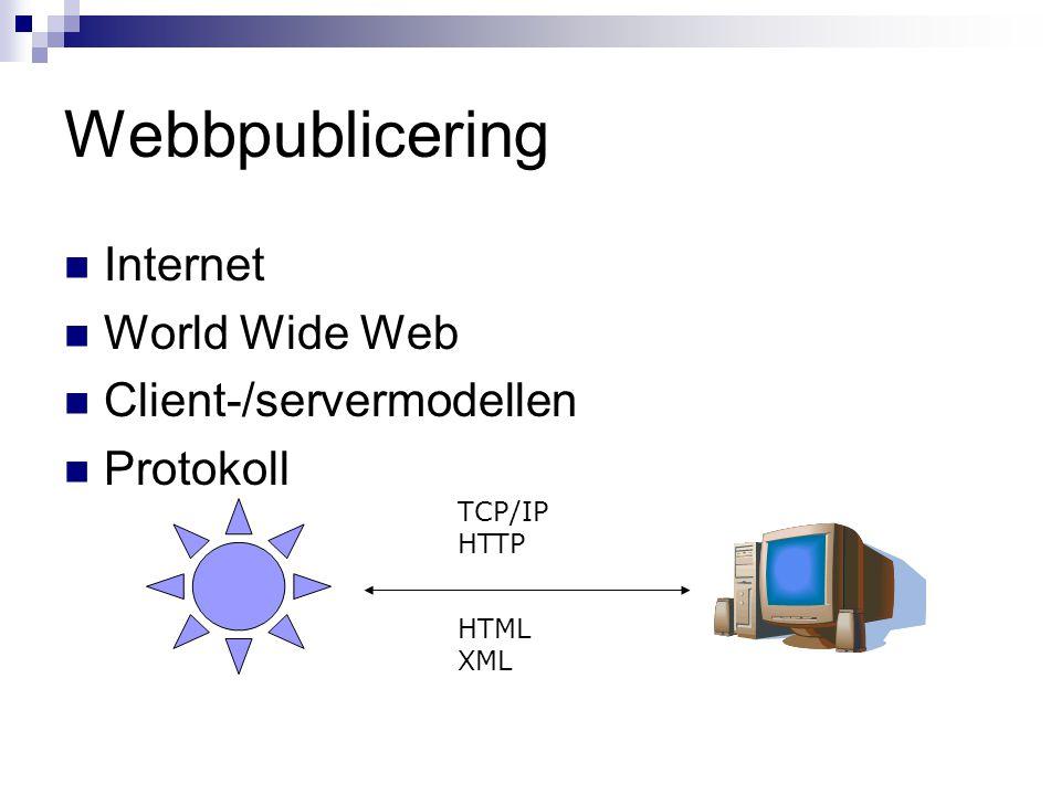 Webbpublicering Internet World Wide Web Client-/servermodellen Protokoll TCP/IP HTTP HTML XML