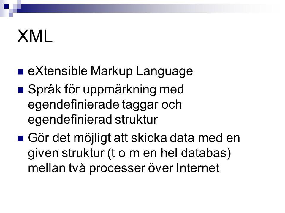 XML eXtensible Markup Language Språk för uppmärkning med egendefinierade taggar och egendefinierad struktur Gör det möjligt att skicka data med en given struktur (t o m en hel databas) mellan två processer över Internet