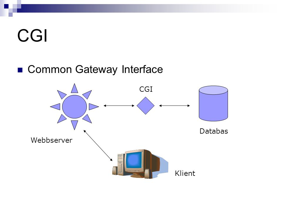 CGI Common Gateway Interface Klient CGI Webbserver Databas