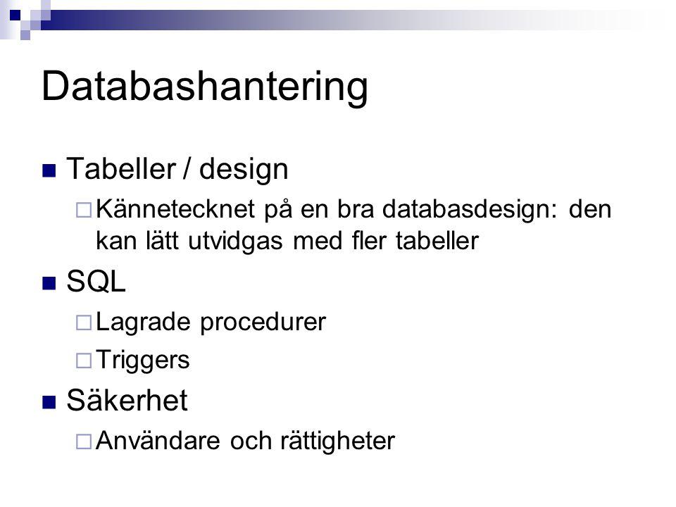 Tabeller / design  Kännetecknet på en bra databasdesign: den kan lätt utvidgas med fler tabeller SQL  Lagrade procedurer  Triggers Säkerhet  Användare och rättigheter