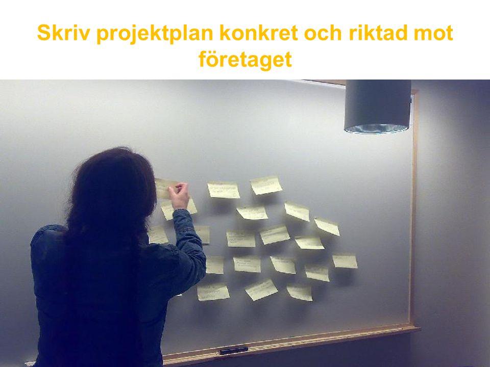 Skriv projektplan konkret och riktad mot företaget