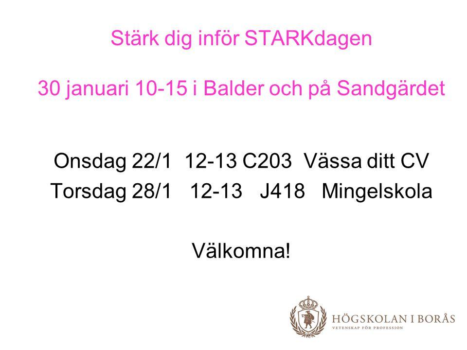 Stärk dig inför STARKdagen 30 januari 10-15 i Balder och på Sandgärdet Onsdag 22/1 12-13 C203 Vässa ditt CV Torsdag 28/1 12-13 J418 Mingelskola Välkom
