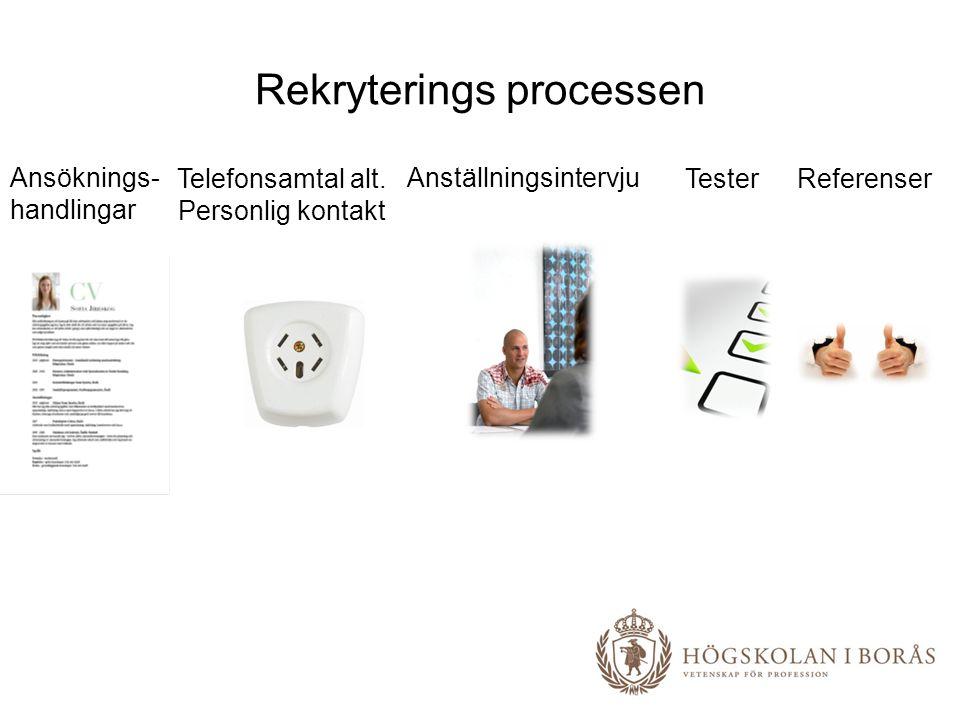 Rekryterings processen Ansöknings- handlingar Telefonsamtal alt. Personlig kontakt Anställningsintervju TesterReferenser