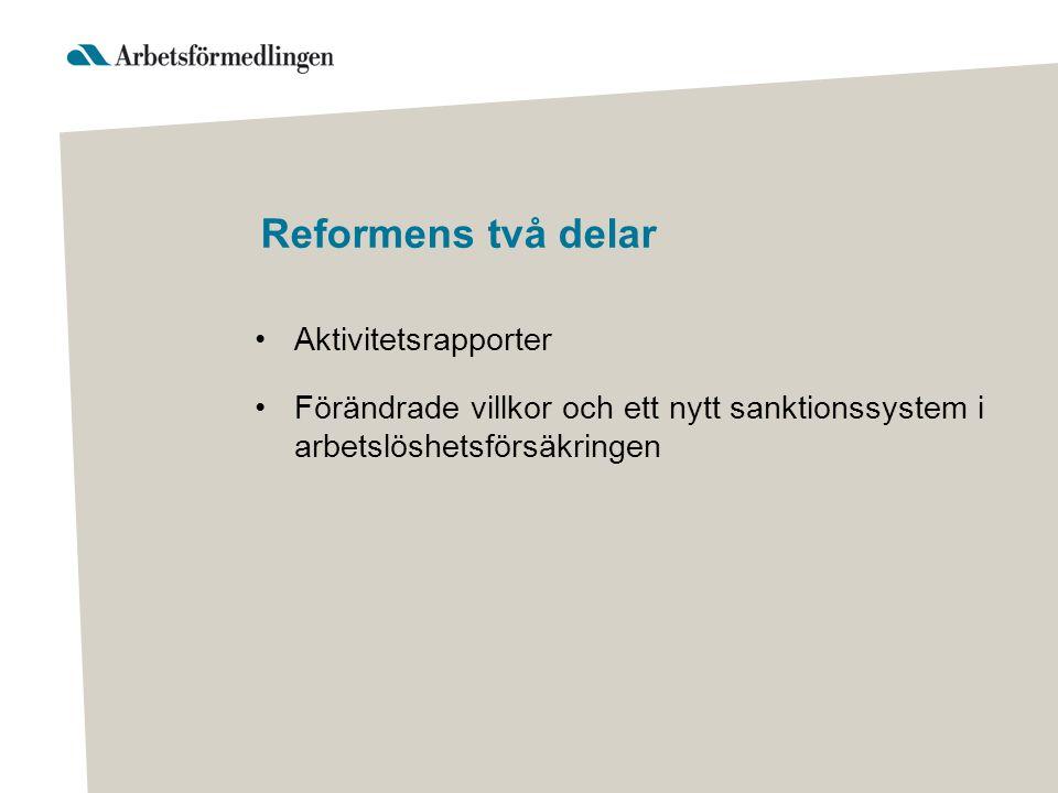 Reformens två delar Aktivitetsrapporter Förändrade villkor och ett nytt sanktionssystem i arbetslöshetsförsäkringen