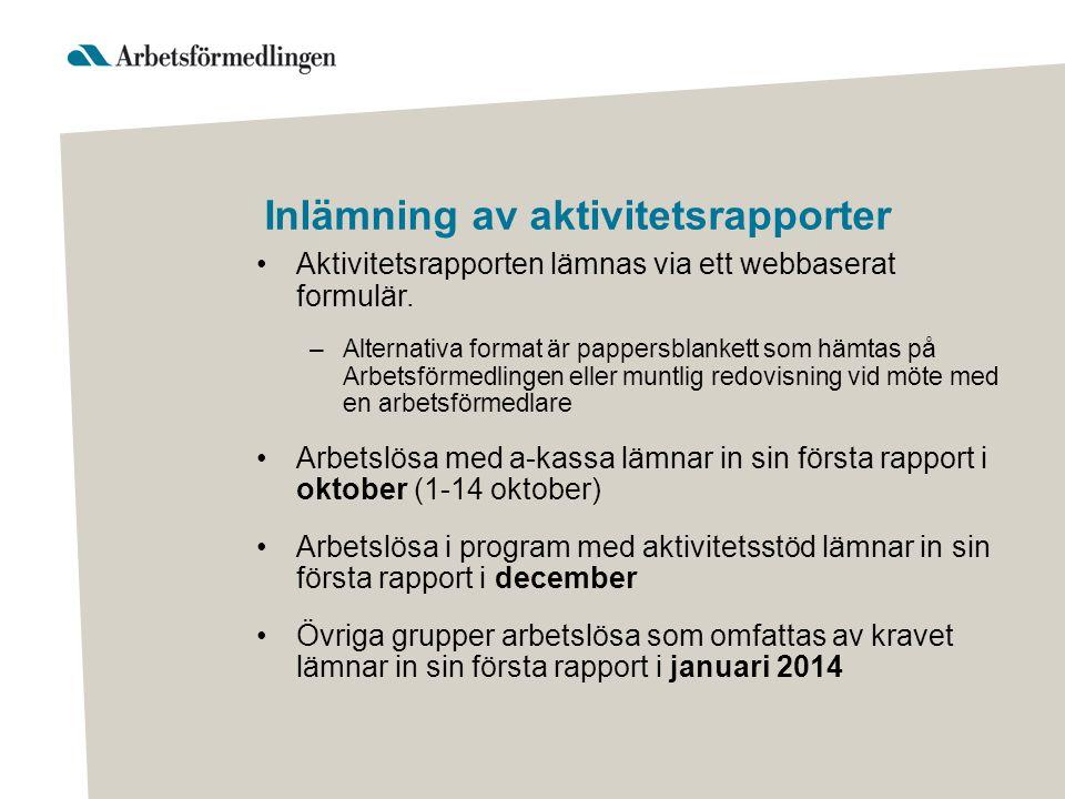 Inlämning av aktivitetsrapporter Aktivitetsrapporten lämnas via ett webbaserat formulär.