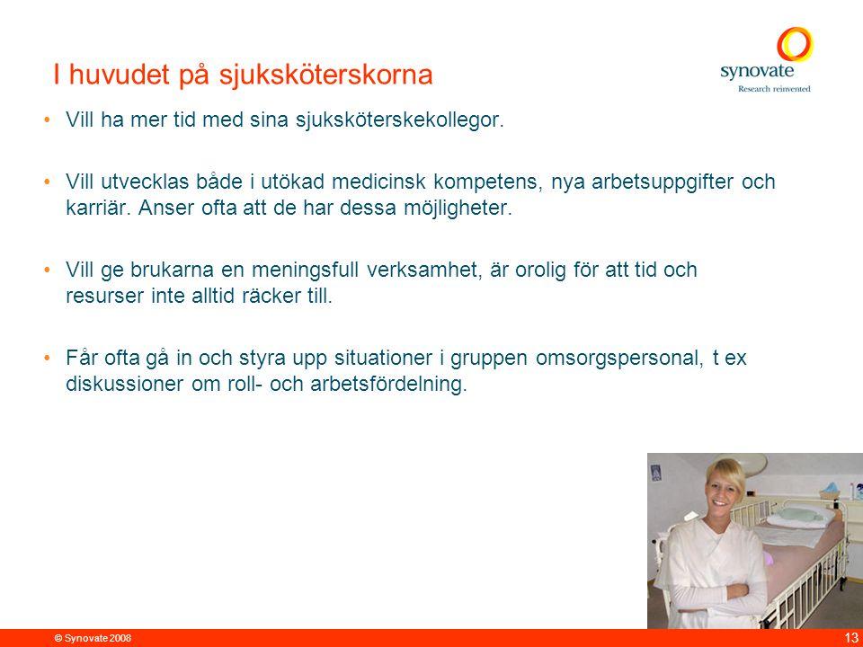© Synovate 2008 13 I huvudet på sjuksköterskorna Vill ha mer tid med sina sjuksköterskekollegor. Vill utvecklas både i utökad medicinsk kompetens, nya