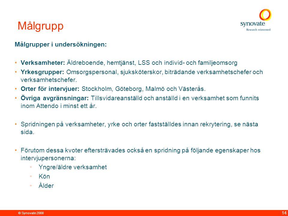 © Synovate 2008 14 Målgrupp Målgrupper i undersökningen: Verksamheter: Äldreboende, hemtjänst, LSS och individ- och familjeomsorg Yrkesgrupper: Omsorg