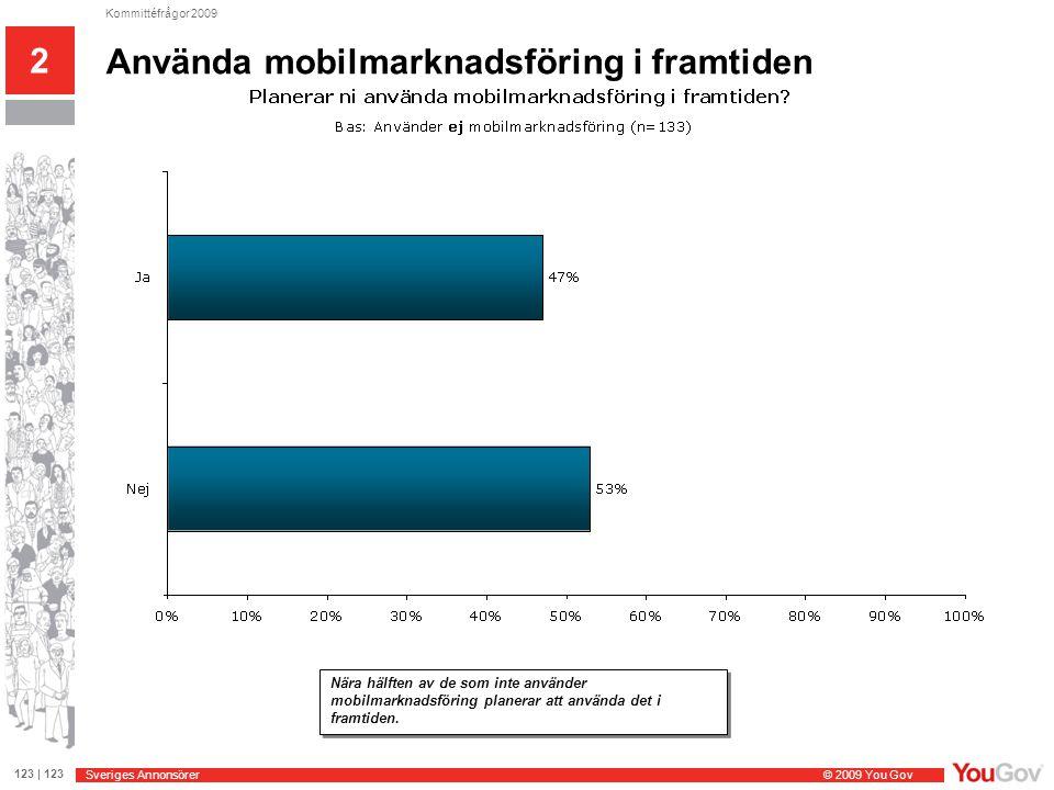 Sveriges Annonsörer © 2009 You Gov 123 | 123 Kommittéfrågor 2009 2 Andel som läggs på mobilmarknadsföring 3 av 4 företag som använder mobilmarknadsföring lägger mindre än 5% av marknadsbudgeten på mobilmarknadsföring.