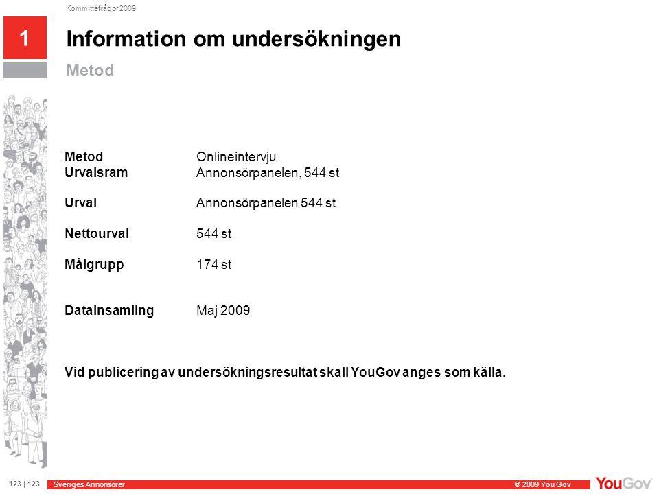Sveriges Annonsörer © 2009 You Gov 123 | 123 Kommittéfrågor 2009 Frågeställningar 1 Information om undersökningen Om sökmarknadsföring 1.Är ditt företag aktiva användare av sökmarknadsföring, det vill säga sökmotoroptimering och/eller sponsrade länkar (så kallade AdWords).