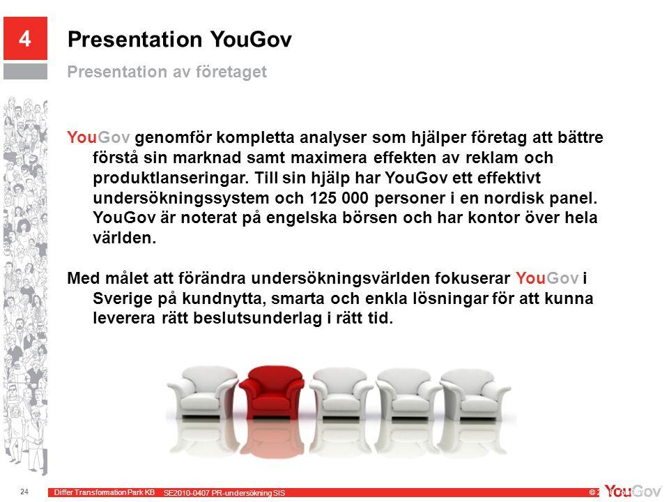 Differ Transformation Park KB © 2010 YouGov 24 SE2010-0407 PR-undersökning SIS Presentation YouGov Presentation av företaget 4 YouGov genomför kompletta analyser som hjälper företag att bättre förstå sin marknad samt maximera effekten av reklam och produktlanseringar.