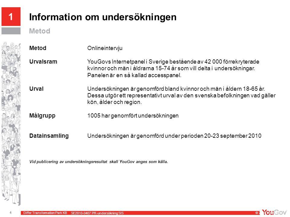 Differ Transformation Park KB © 2010 YouGov 4 SE2010-0407 PR-undersökning SIS Information om undersökningen Metod MetodOnlineintervju UrvalsramYouGovs Internetpanel i Sverige bestående av 42 000 förrekryterade kvinnor och män i åldrarna 15-74 år som vill delta i undersökningar.