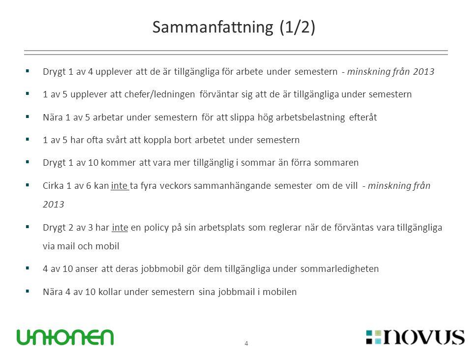 4 Sammanfattning (1/2)  Drygt 1 av 4 upplever att de är tillgängliga för arbete under semestern - minskning från 2013  1 av 5 upplever att chefer/le