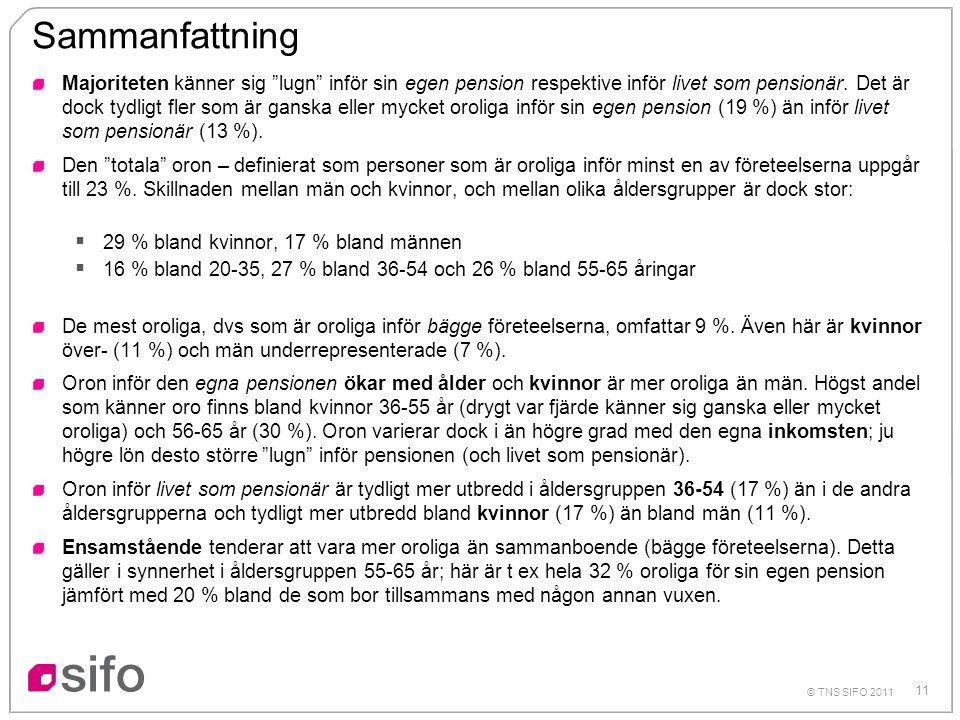 """11 © TNS SIFO 2011 Sammanfattning Majoriteten känner sig """"lugn"""" inför sin egen pension respektive inför livet som pensionär. Det är dock tydligt fler"""