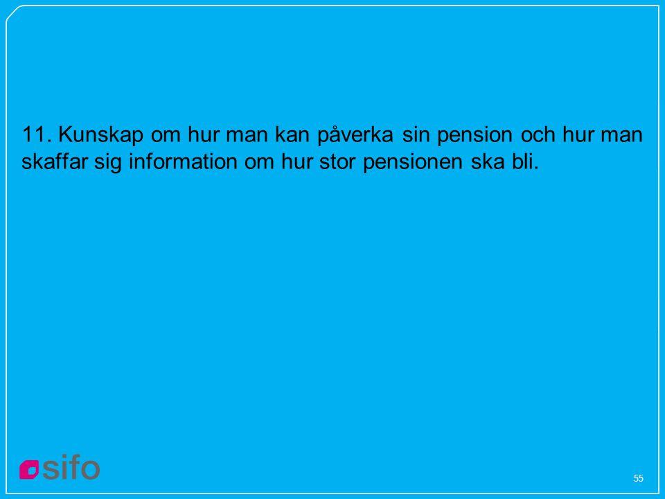 55 11. Kunskap om hur man kan påverka sin pension och hur man skaffar sig information om hur stor pensionen ska bli.