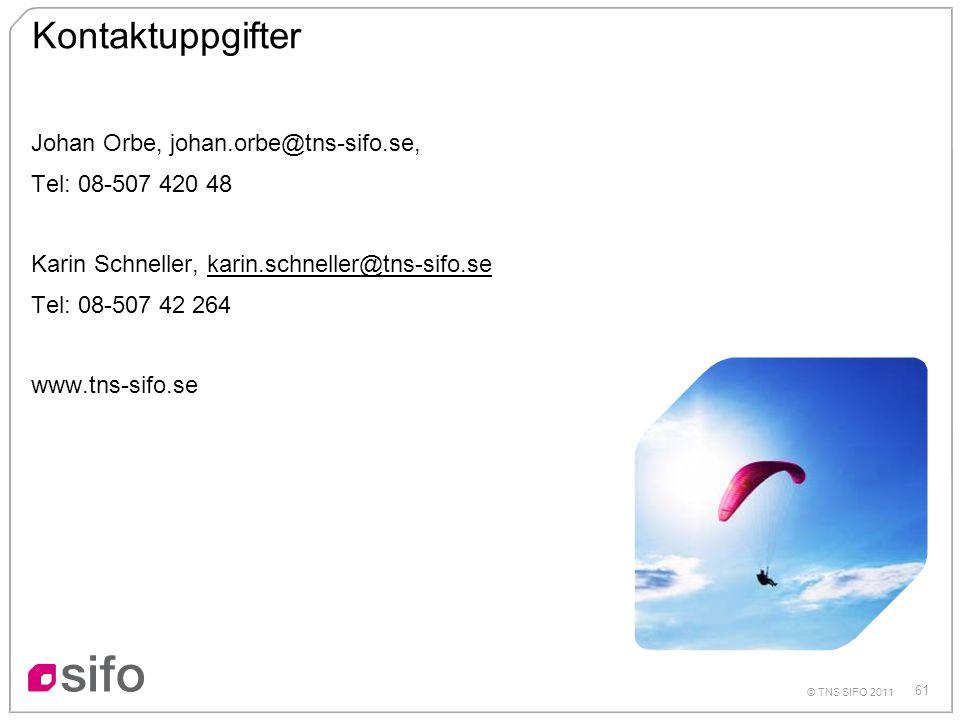 61 © TNS SIFO 2011 Kontaktuppgifter Johan Orbe, johan.orbe@tns-sifo.se, Tel: 08-507 420 48 Karin Schneller, karin.schneller@tns-sifo.sekarin.schneller