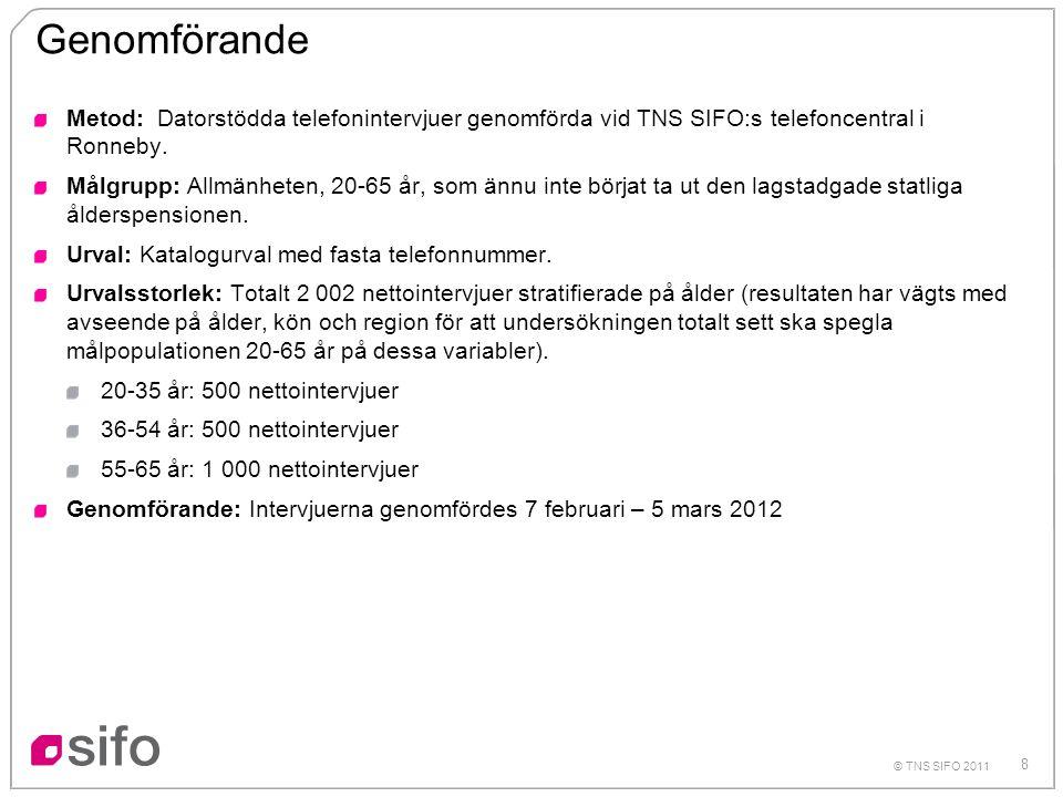 8 © TNS SIFO 2011 Genomförande Metod: Datorstödda telefonintervjuer genomförda vid TNS SIFO:s telefoncentral i Ronneby. Målgrupp: Allmänheten, 20-65 å