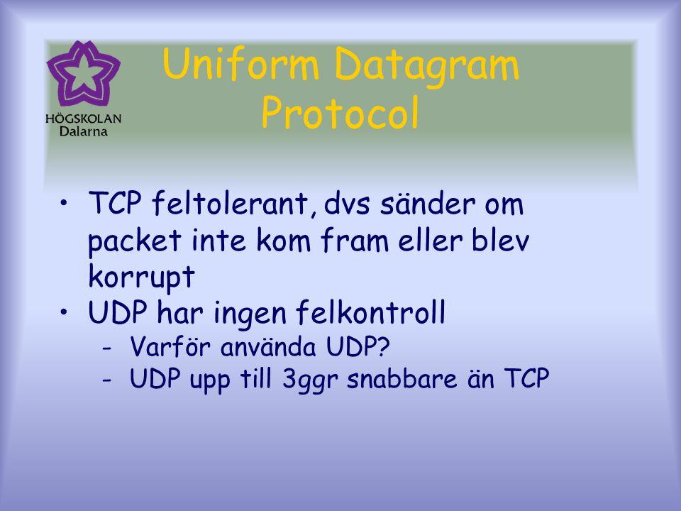 Uniform Datagram Protocol TCP feltolerant, dvs sänder om packet inte kom fram eller blev korrupt UDP har ingen felkontroll -Varför använda UDP.