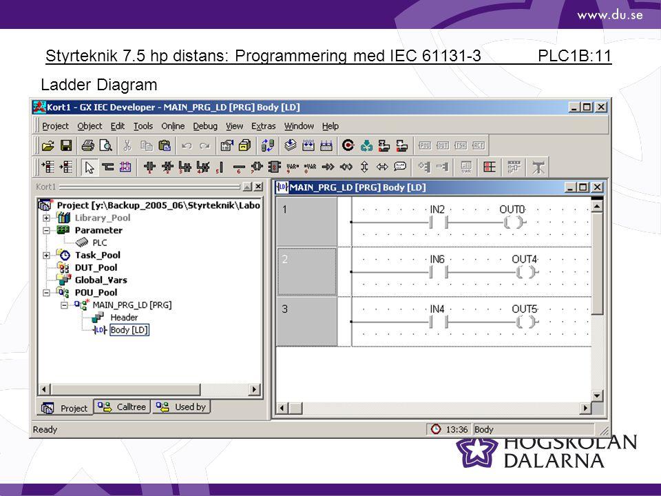 Styrteknik 7.5 hp distans: Programmering med IEC 61131-3 PLC1B:11 Ladder Diagram