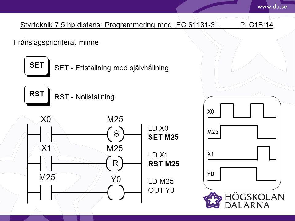 Styrteknik 7.5 hp distans: Programmering med IEC 61131-3 PLC1B:14 X0 M25 X1 Y0 SET RST SET - Ettställning med självhållning RST - Nollställning LD X0