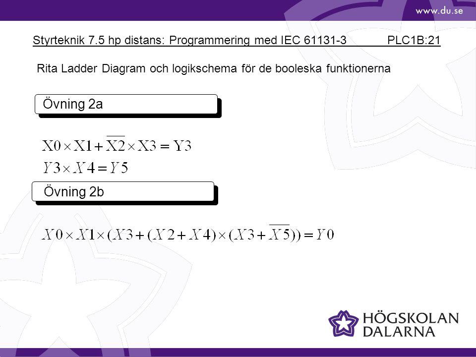 Styrteknik 7.5 hp distans: Programmering med IEC 61131-3 PLC1B:21 Övning 2a Övning 2b Rita Ladder Diagram och logikschema för de booleska funktionerna