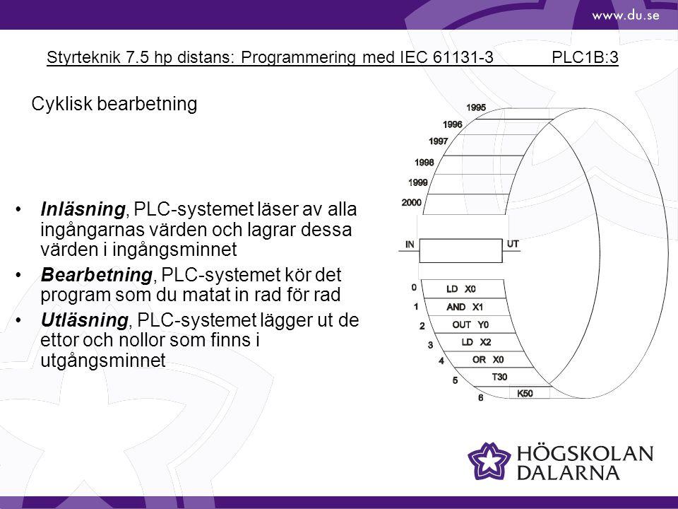 Styrteknik 7.5 hp distans: Programmering med IEC 61131-3 PLC1B:14 X0 M25 X1 Y0 SET RST SET - Ettställning med självhållning RST - Nollställning LD X0 SET M25 LD X1 RST M25 LD M25 OUT Y0 X0 Y0 X1 M25 S R Frånslagsprioriterat minne