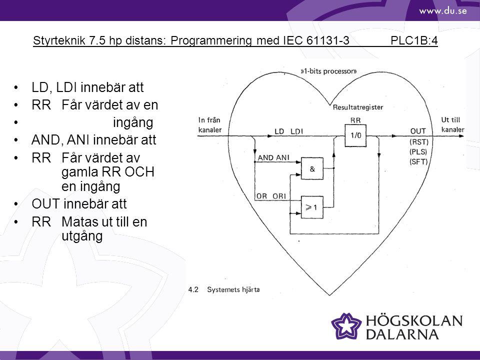 Styrteknik 7.5 hp distans: Programmering med IEC 61131-3 PLC1B:15 X0 Y0 LD X0 OR M25 ANI X1 OUT M25 LD M25 OUT Y0 M25 X1M25 X0 M25 X1 Y0 Frånslagsprioriterat minne Alternativ lösning