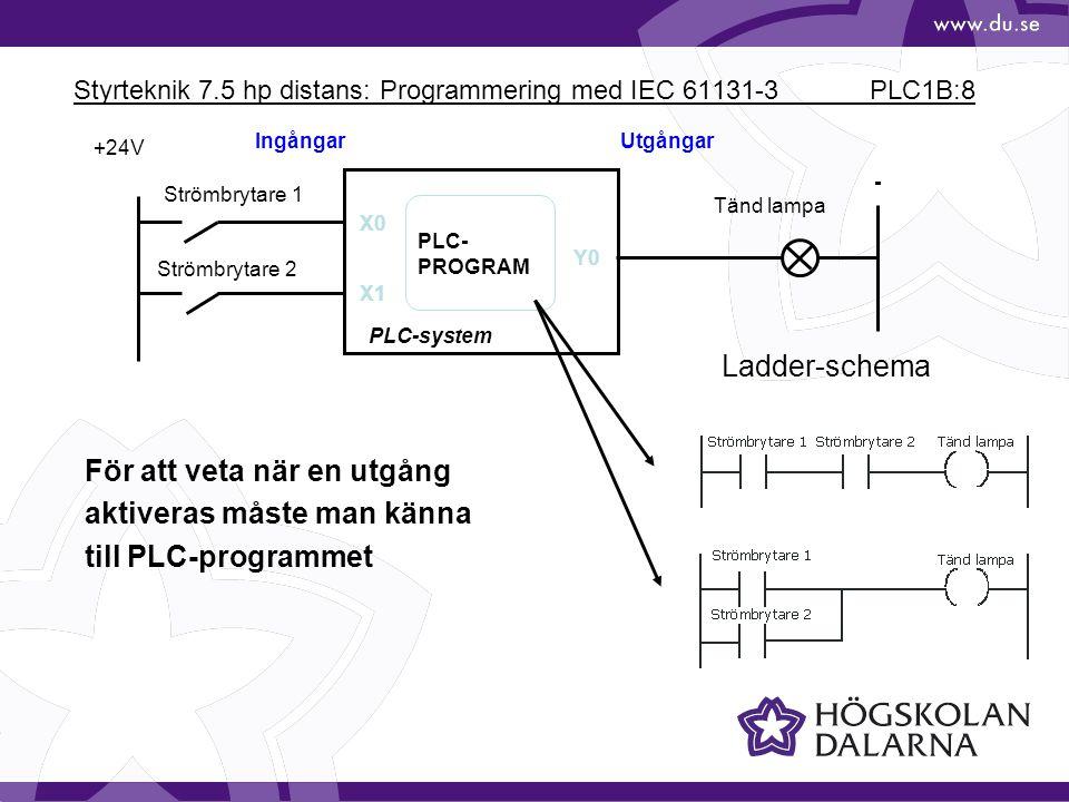 Styrteknik 7.5 hp distans: Programmering med IEC 61131-3 PLC1B:19 Exempel: * Avläst värde gånger 0,1 ms FX-serienFunktion M8000Normalt ettställd M8002Ettställd 1:a cykelvarvet M8005Låg batterispänning M8012Pulståg 0,1 sekund M8013Pulståg 1 sekund D8010Aktuell cykeltid * D8011Minimal cykeltid * D8012Maximal cykeltid * Specialminnesceller/register FX-System
