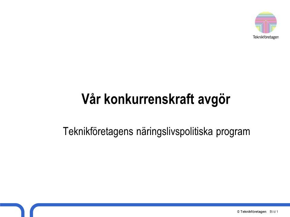 © Teknikföretagen Bild 2 Sveriges viktigaste företag Sveriges BNP är ca 2.300 mdr kr Sveriges export uppgår till ca 1.000 mdr kr Våra medlemsföretag svarar för halva exporten Välståndet och välfärden i samhället kan bara öka om teknikföretagen får växa och utvecklas (branscherna sprit och musik motsvarar vardera cirka 1% av vår export)
